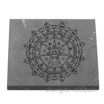 shungite pentacle tile square 9 cm