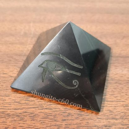 shungite pyramid eye of horus engraved of black rock mineral