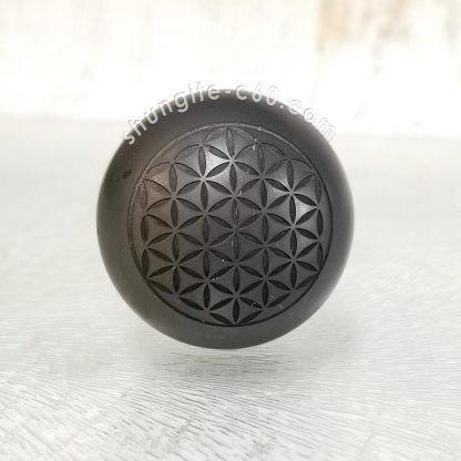 shungite sphere engraved flower