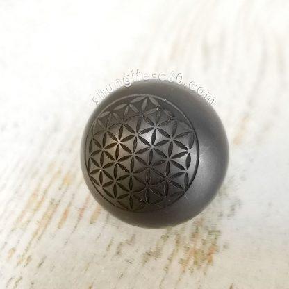 shungite sphere engraved flower from karelia