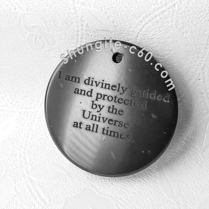 real shungite stone pendant and text engraved