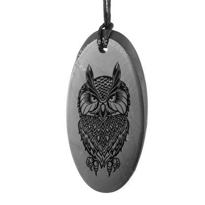 Shungite engraved Owl pendants