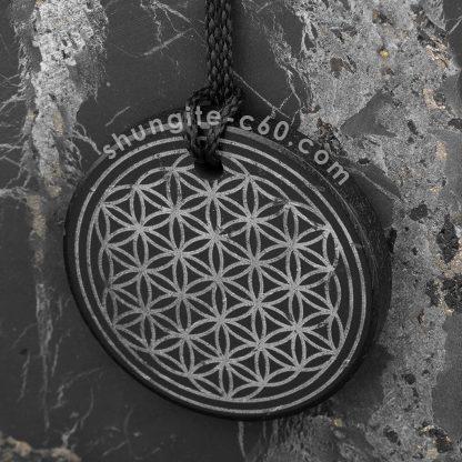 shungite flower of life necklace