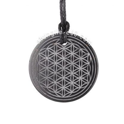 shungite flower of life necklace of stone