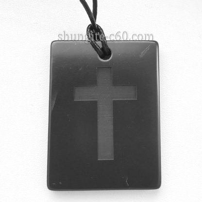 shungite cross necklace made of natural stone