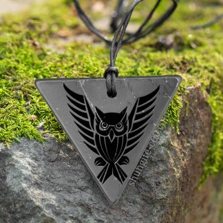 shungite necklace flying owl for emf protection