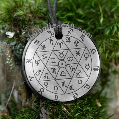shungite pendant zodiac circle