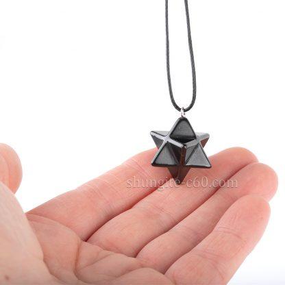 merkaba pendant made of natural shungite stone