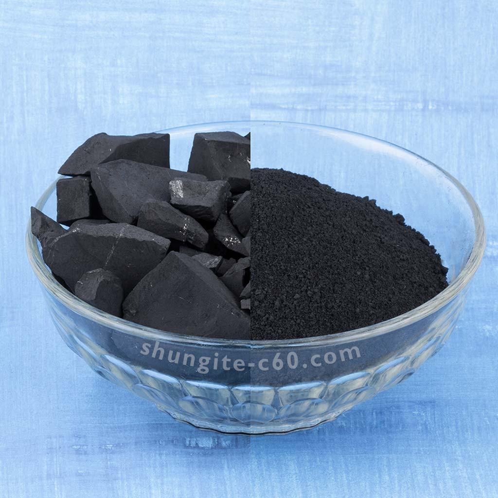 shungite russia black stone and powder from the Zazhoginskoye deposit