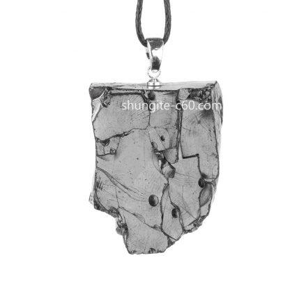 silver shungite pendant made of Russian stone